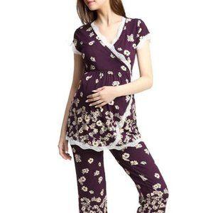 Kimi Kai Nursing Maternity Pajamas Eggplant L NWT